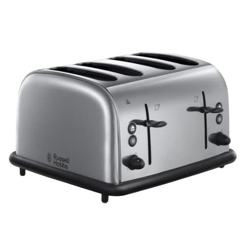 Russell Hobbs 20710 4 Slice Wide Slot Toaster -  Polished Brushed Stainless Steel