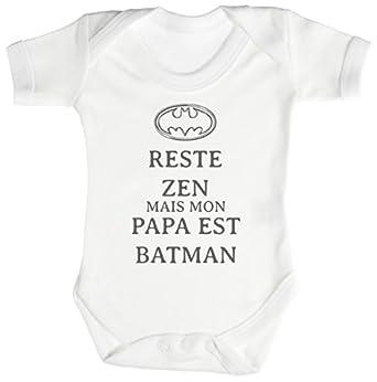 trs reste zen papa est batman body b b 100 coton v tements et accessoires. Black Bedroom Furniture Sets. Home Design Ideas