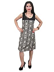 Indiatrendzs Women's Dress Black Printed Midi Party Dress Chest : 40