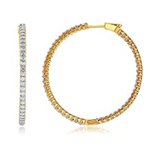 buy Solitaire Jewels Usa - 'Timeless Collection' Diamond Inside-Out Round Hoop Earrings - With 0.9 Carats Of Full Cut Diamonds, Set In 14K Karat Yellow Gold