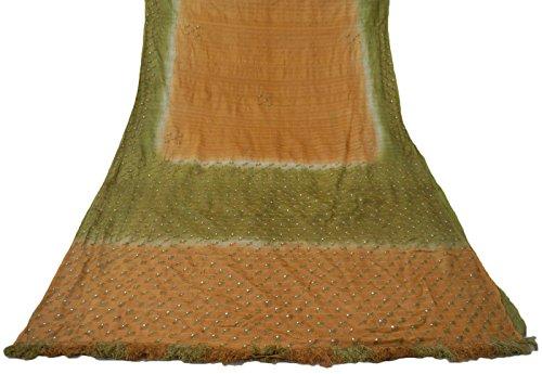 vintage-indian-saree-100-pure-khadi-soie-brode-peach-craft-sari-tissu