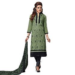Udantya Women's Chanderi Embroidered Salwar Suit Unstitched Dress Materials (Dark Green)