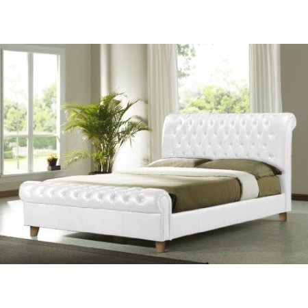 NEW 5ft FAUX LEATHER WHITE CHESTERFIELD SLEIGH BED FRAME