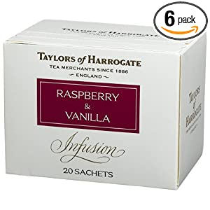 Taylors of Harrogate, Raspberry and Vanilla Infusion, 20-Count Wrapped Tea Bags (Pack of 6) $15.38