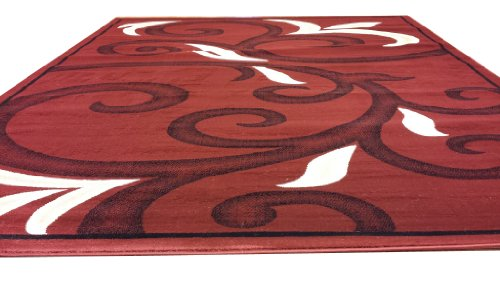 D612 Contemporary Modern Transitional Branch Leaves Design Red 5x8 Actual Size 5'3x7'2 Rug