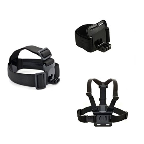 Masione™ Head Strap Mount+ Chest Belt/Strap Harness Mount +Wrist Strap For Gopro Hero3+ 3 Plus Hero3 Hero2 1 Cameras Adjustable