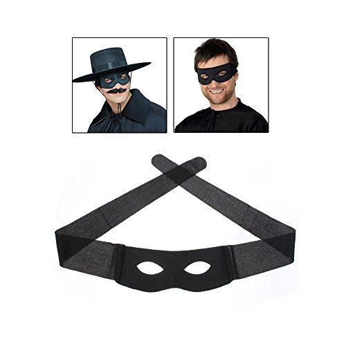 [Masquerade Bandit Zorro Black Masked Man Eye Mask Venetian Adult Super Hero New] (Masked Bandit Costume)