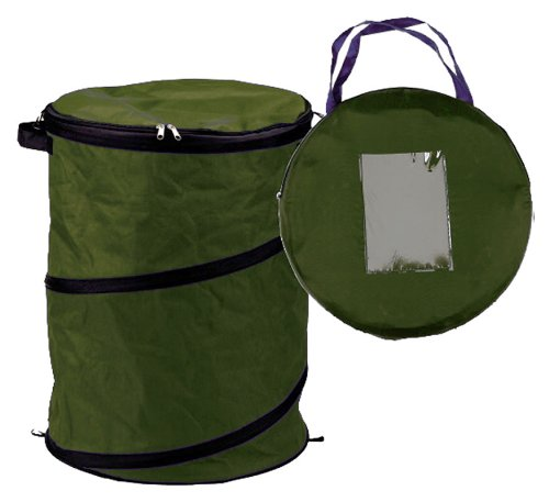 SE GC5002L Extra-Tough Collapsible Leaf Bag with Zippered Lid-Green