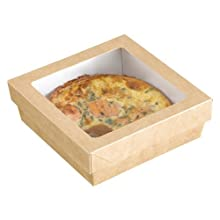 PacknWood 210KRAYB194 Kray Brown Paper Box With Window Lid, Base: 7.4 x 7.4 x 1.6-Inch, Top: 8 x 8-Inch (4 Packs of 50)