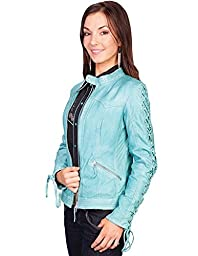 Scully Women\'s Leather Laced Sleeve Jacket Blue XX-Large