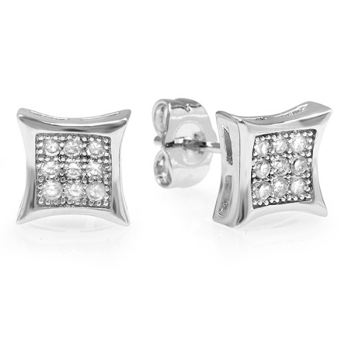 0.05 Carat (ctw) Platinum Plated Sterling Silver Round Diamond Cube Shape Mens Hip Hop Iced Stud Earrings