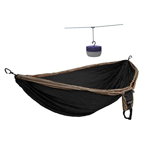 ENO Dbl Deluxe Hammock Khaki / Black – With Moonshine Hammock Lantern (Purple)