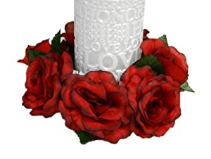 8 pcs Silk ROSES Flowers Candle Rings Wedding Centerpieces - Black and Red