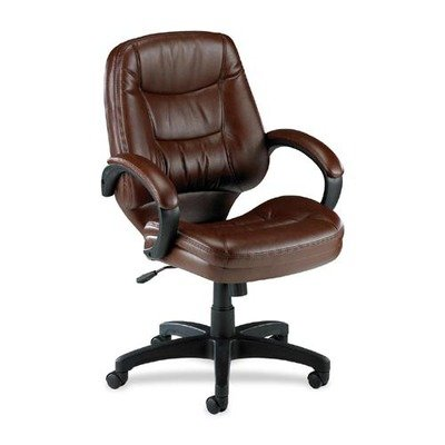 Lorell Mid-Back Managerial Chair, 26-1/2 by 28-1/2 by 43-Inch, Brown Leather Finish