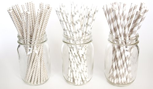 Silver Wedding Straws Combo Pack, Milk Straws, Vintage Paper Straws, Thick Stirring Straws, 75 Pack - Silver Striped, Polka Dot & Chevron Straws