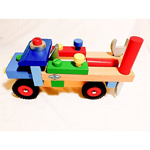 Educational Toys For 3 Year Olds, Fine Motor Skills Wooden Truck, Lifetime Warranty! Best Preschool Early Education Toy For Toddlers, Children Wooden Cars. Best Value.