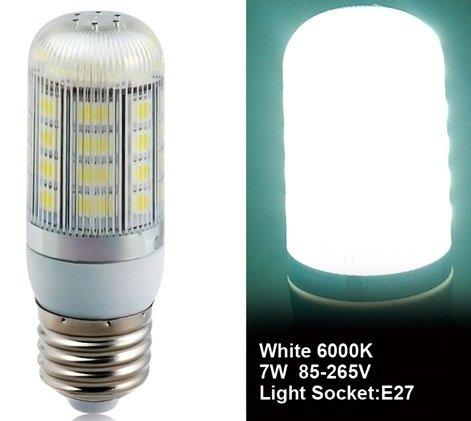 True 5050-36L-85/265V 5W E27 36X5050Smd White Led Corn Bulb With Lampshade