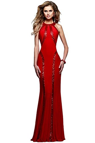 Montmo Women's Gorgeous Jersey Sequin Trim Evening Dress Long Gown (Red)