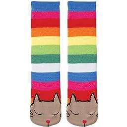 K. Bell Socks Women\'s Tubular Cat Non-Skid Slipper Socks, Muti Stripe, 9-11