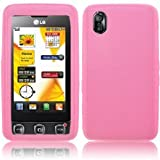 LG KP500 COOKIE / KP501 COOKIE SKIN CASE - PINK SILICONE SKIN PROTECTOR CASE ACCESSORIES FOR MOBILE PHONES BY OLIVIASPHONES