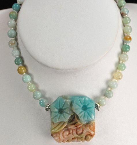 Natural Amazonite & Carved Flower Pendant Silver Necklace N2_0626_07