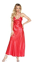 Shirley of Hollywood Women\'s Charmeuse and Lace Long Gown, Red, X-Large