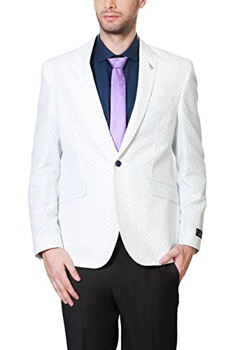 Van Heusen Men's Slim Fit Blazer (8907485964846_VHBZ316M07177_40_White Solid)