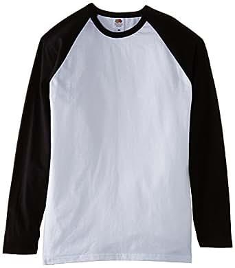 FOTL - Top de sport - Col rond - Manches longues Homme -  Multicolore - Multicoloured (White/Black) - Small