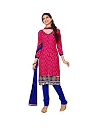 Nistula Women's Straight Cut Jacquard Top With Cotton Bottom Unstitched Dress Material [Pink_Free Size] | Wave 4004