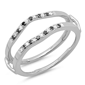 0.15 Carat (ctw) 14K White Gold Round White & Black Diamond Ladies Anniversary Wedding Band Guard Double Ring (Size 7)