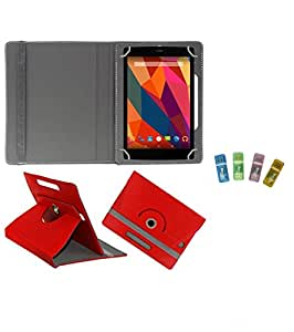 Gadget Decor (TM) PU Leather Rotating 360° Flip Case Cover With Stand For HCL ME Y3 + Free USB Card Reader - Red