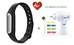 Technomart Original MI Band With Heart Rate Monitor Smart Wristband Bracelet Fitness Wearable Bluetooth 4.0 Tracker Waterproof IP67 Smartband Free Wax Vac Ear Cleaner