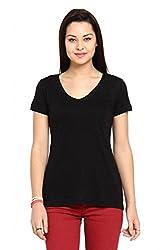 Women Black Slub Casual T-Shirt