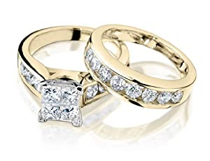 Princess Cut Diamond Engagement Ring and Wedding Band Set 1 Carat (ctw) in 14K Yellow Gold , Size 7
