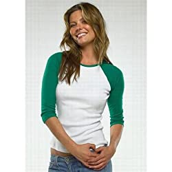Bella Ladies' Cotton 3/4 Contrast Raglan Sleeve Rib Tee