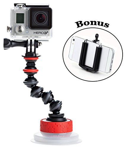 Joby Universal Action Camera Suction Cup & GorillaPod Arm for Contour and Sony Action Cameras and GoPro HD HERO2, HD Hero3, HERO4 Session, HD Hero4, HD Helmet HERO, HD Motorsports HERO, HD Surf HERO, HD Hero Naked, and a Bonus Ivation Universal Smartphone Tripod Mount Adapter