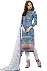 Naaidaakho Off White And Blue Cotton Dress Material