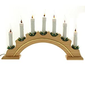 Traditional wooden arch candle bridge with 7 led for Arch candle christmas decoration