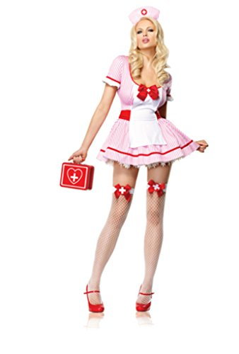 Leg Avenue Womens Nurse Kandi Candy Striper Outfit Fancy Dress Sexy Costume