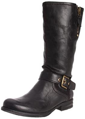娜然Naturalizer 女士真皮黑色长靴Balada Wide Shaft Motorcycle Boot $90.98