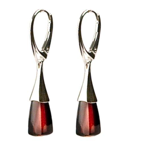 Black Cherry Amber Sterling Silver Modern Lever Back Earrings