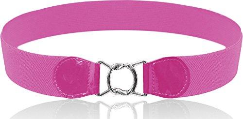 LUNA Fashion 2 Inch Elastic Cinch Belt - Interlocking - Pink