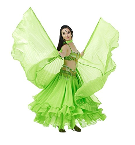 Dreamspell Unique Green Belly Dance Silk Big Wings Best Gift