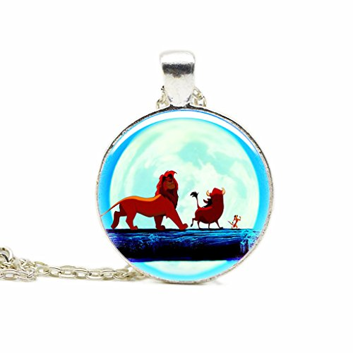 Lion King Necklace Simba Drawing Pendant Glass Round Jewelry Custom Pictures Necklace Christmas Gift (Simba Drawing compare prices)