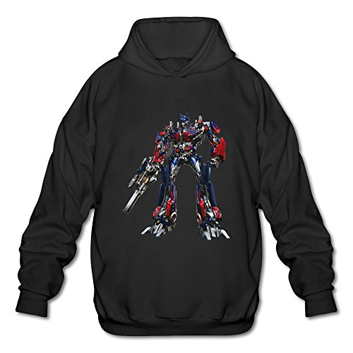 Men's Optimus Prime Transformer Long Sleeves Hoodies Sweatshirt Black Size L