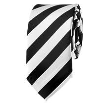 """TopTie Unisex New Fashion Black & White College Stripe Skinny 2"""" inch Necktie"""