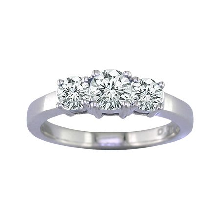 1/2 Ct Three-Stone Diamond Engagement Ring In 14K White Gold