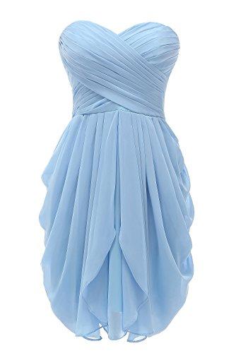 Kiss Dress Short Strapless Prom Dress Soft Chiffon Evening Dress S Blue