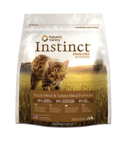 Instinct Grain-Free Duck Meal & Turkey Meal Dry Cat Food by Nature's Variety, 2.2-Pound Package