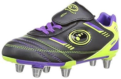 Optimum Boys Tribal Rugby Boots RBTBPGJ1 Black/Purple/Green 1 UK, 34 EU